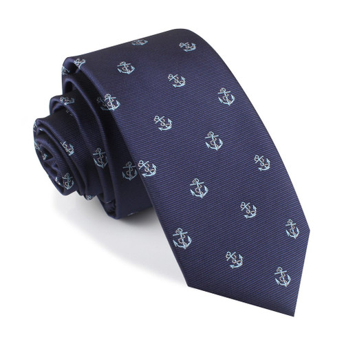 OTAA - Navy Blue with Blue Sail Anchor Tie