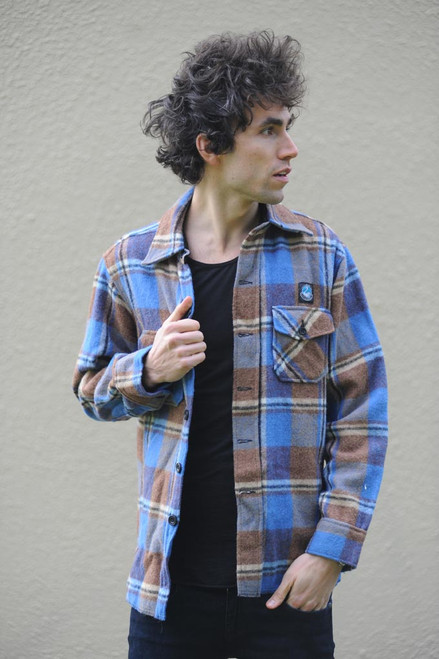 Vintage Blue and Brown Check Wool Jacket