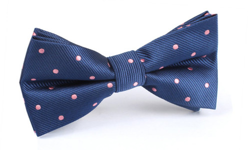 OTAA - Navy Blue with Pink Polka Dots Bow Tie