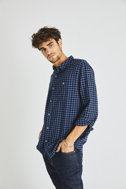ROLLAS -  Men At Work Shirt - Trade Blue Check ( 2 left! Size M )