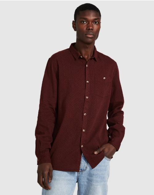 ROLLAS - Men At Work Bedford Mandala Shirt - Burgundy ( 2 left! Size S )