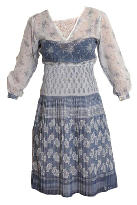 Vintage Blue & White Cheesecloth Dress