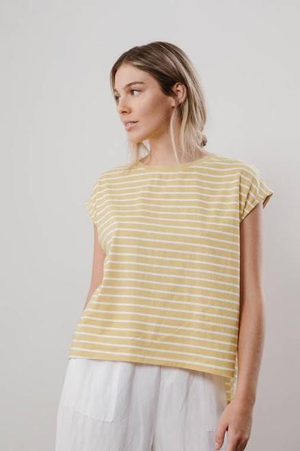 LITTLE LIES - Striped Boxy Tank - Yellow