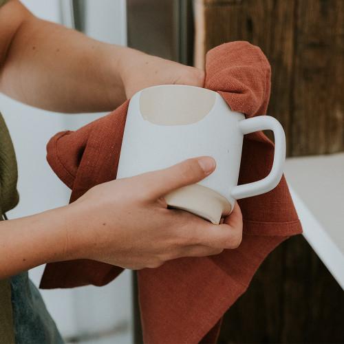 ANNABEL TRENDS - Stonewash Tea Towel - Terracotta
