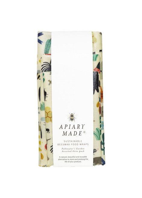 APIARY MADE - Sustainable Beeswax Food Wraps (Pollinator's Garden: Assorted x 3)