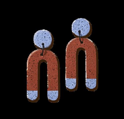 CHAMP - Chick Magnet Earrings - Terracotta Blue