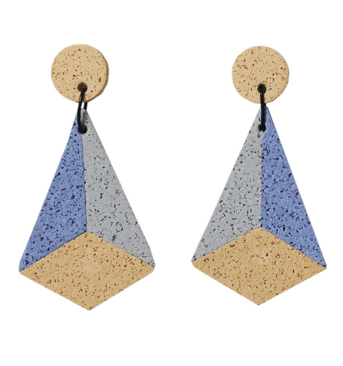 CHAMP - Pyramid Earrings - Blue and Sand