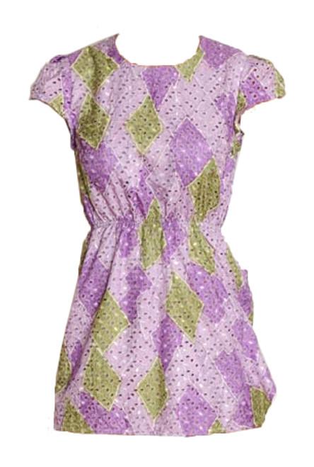 Vintage Purple & Green Emboridered Dress