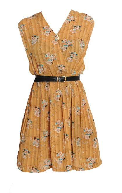 Vintage Caramel Floral Print Dress