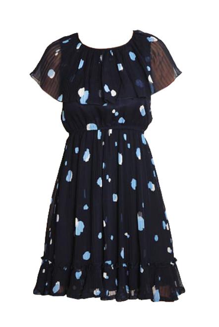 Vintage Navy Blue Pleated Spot Print Dress