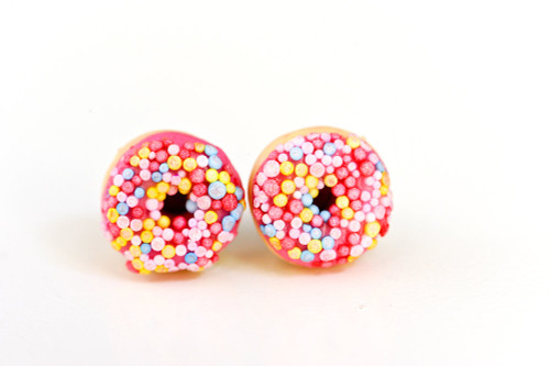 Kate and Rose Pink Donut Earrings