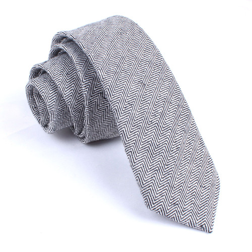 OTAA Black Herringbone Linen Skinny Tie