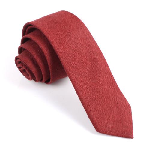 OTAA Red Maroon Slub Linen Skinny Tie