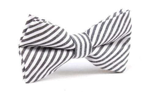 OTAA Black and White Chalk Stripes Cotton Bow Tie