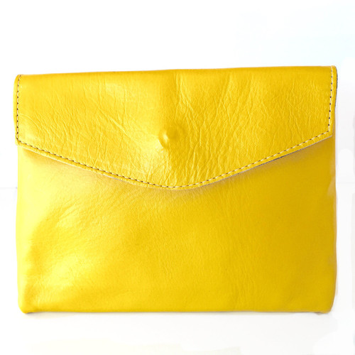 Golden Ponies Accessories - Envelope Clutch in Yellow Leather