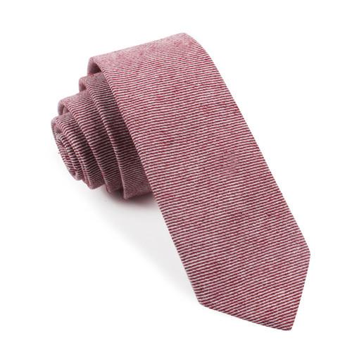 OTAA Maroon & White Twill Stripe Linen Skinny Tie
