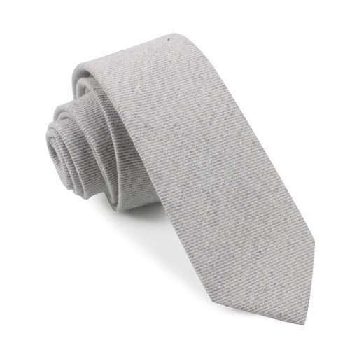 OTAA Light Grey Twill Stripe Linen Skinny Tie