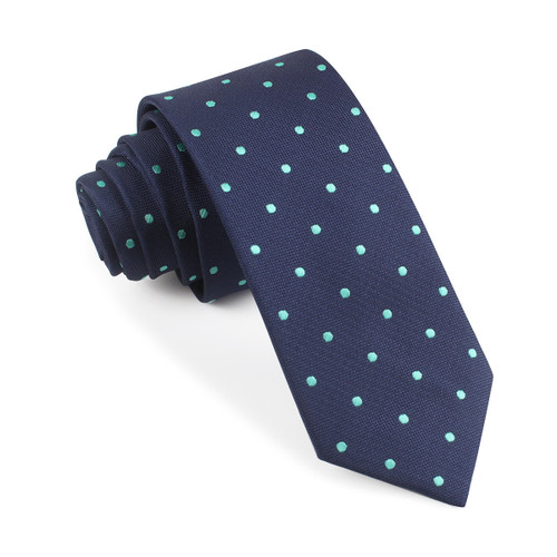 OTAA Navy Blue with Mint Green Polka Dots Skinny Tie