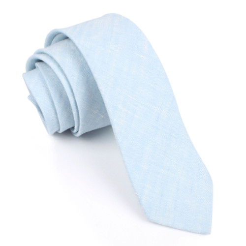 OTAA Light Blue Linen Chambray Skinny Tie