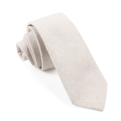 OTAA Khaki Twill Stripe Linen Skinny Tie