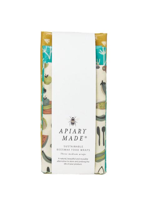 APIARY MADE - Sustainable Beeswax Food Wraps (x3 Medium)