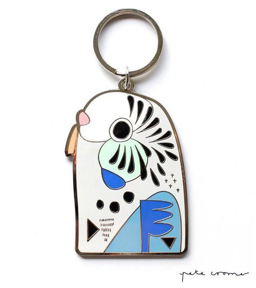 Blue Budgerigar Key Ring