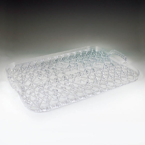 Crystal Cut Rectangular Tray w/ Handles (6 per case)