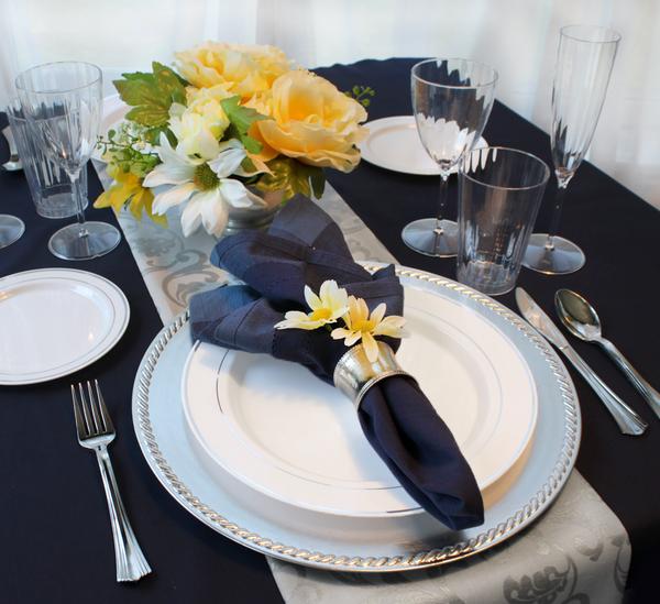 Elegant Silver Trim Wedding Bundle - 40 Guests