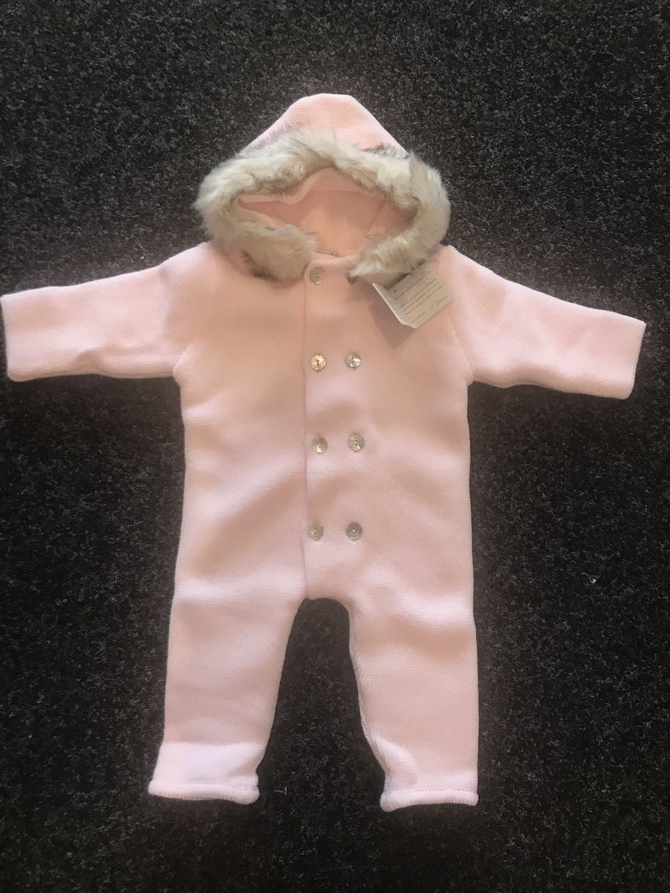 0213b5bc20a1 Light Pink Knit Pramsuit with Fur Hood