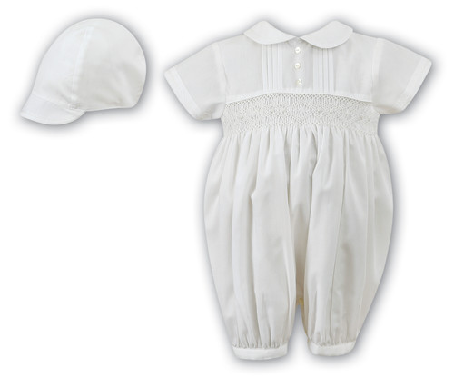 8882fa3dc8ad ivory christening romper and cap boys sarah louise