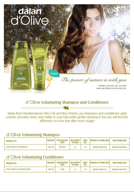 Olive Oil Volumizing Shampoo  The miracle of Mediterranean olive oil and wheat protein are combined in d'Olive Volumizing Shampoo to restore natural volume to your hair. Independent tests carried out by international accredited laboratories have proven that d'Olive Shampoo repairs and volumizes damaged hair, deeply nourishes and strengthens it from root to tip, protecting it from split ends and regaining the moisture it has lost within 2 weeks.*  *Comparison of hair treated 3 times a week for 4 weeks with d'Olive Volumizing Shampoo against untreated hair, by an Internationally Accredited Laboratory.