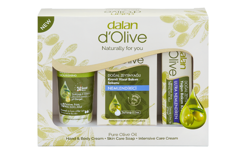 Dalan d'Olive Carton Mini Gift Set  Dalan Olive oil Hand & Body Cream, 100% Olive Oil Soap and Intensive olive oil repair-care cream are presented as a mini gift set in a carton box to provide the ultimate skin care with the nourishing properties of Olive Oil.   Dalan Carton Set 285g (Hand & Body Cream 75ml, Bar Soap 150g, Intensive repair-care hand and body cream 20ml)