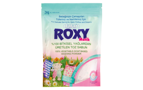 Roxy Roxy Spring Flowers-Matic  Roxy Matic naturally and gently cleans delicate garments, baby clothes and drapery, without damaging the fine surface of fabrics due to its special 100% vegetable-soap based formula. Combining fresh spring flower fragrance with 100% natural, extra-softening granules, Roxy Matik permeates your clothes with a natural softness and leaves your clothes smelling beautiful for long time.