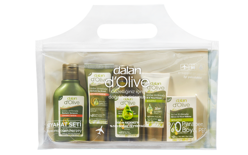 All ready for your travel. The travil kit includes cabin baggage compliant shampoo, conditioner, 100% olive doap, olive moisturiser. Paraben, silicone, sles, peg free
