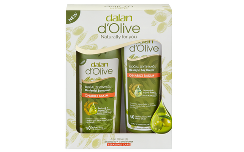 Olive oil Shampoo, Conditioner, 100% Olive Oil Soap and Silk scrub traditionally used in turkish baths are presented as a gift set to provide the ultimate hair care with the nourishing properties of Olive Oil.   Carton Set 750g (d'Olive Shampoo 400ml, d'Olive Conditioner 200ml, d'Olive Bar Soap 150g, Silk Body Scrub)