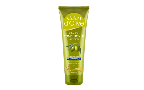 d'Olive Anti-Dandruff Conditioner   We created our Olive Oil Anti Dandruff Conditioner for you, with 70 years of experience in perfecting 100% olive oil soaps, guaranteed by Dalan quality.     Our conditioner with Mediterranean olive oil helps to resume the dandruff prevention system when used together with your Dalan d'Olive Anti Dandruff shampoo:  -  It will moisture and balance the scalp.  -  The anti-fungal effect fights with the microorganisms causing dandruff.  Olive Oil and Silk Protein care your hair to help for easy comb.