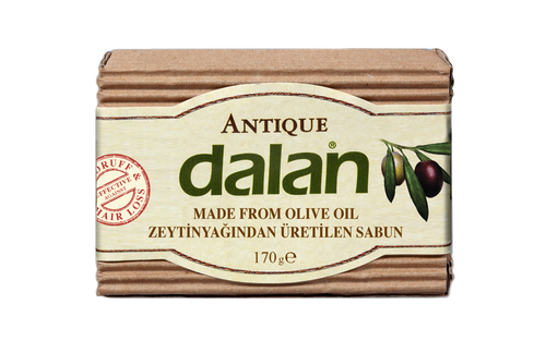 Roxy Dalan Antique Pirina  100% Olive Oil soap for 70 years  Dalan Antique, 100% pure olive oil soap, is an indispensable natural beauty remedy of Turkish bath culture. You can use Dalan Antique for cleaning your hair. It's effectiveness against hair loss and dandruff has been proven by independent laboratories. It continues to be produced with traditional handmade methods for 70 years. Thanks to repairing properties of Vitamin E and Antioxidants found naturally in high quantities in Olive Oil, Dalan Antique moisturizes and nourishes your skin.
