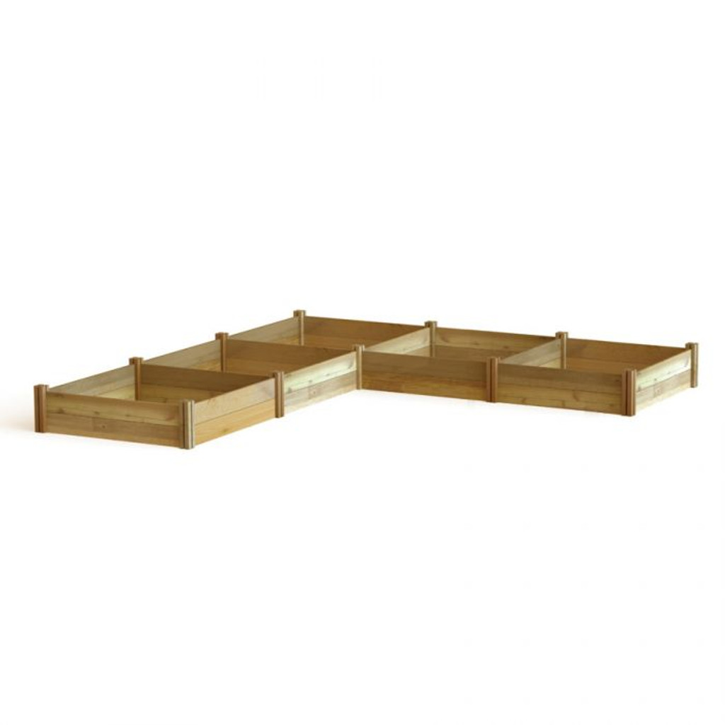 """L"" Shaped Modular Raised Garden Bed 142x142x13"