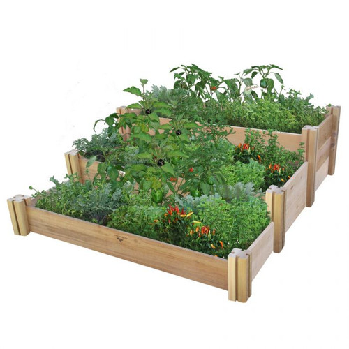 Multi-Level Rustic Raised Garden Bed 48x50x19