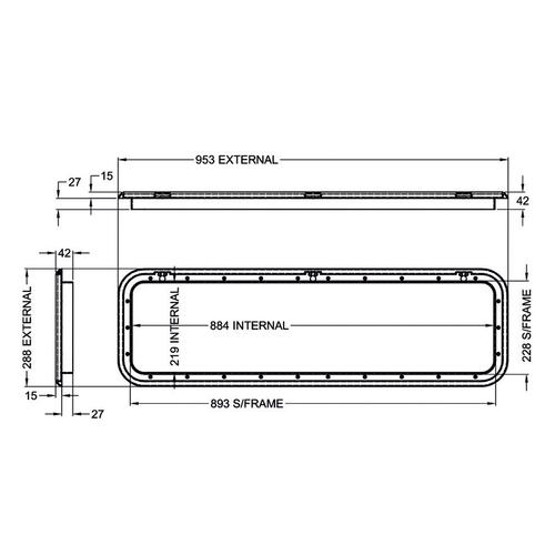 Coast White Access Door 5 - Dimensions of door and frame   600-600008