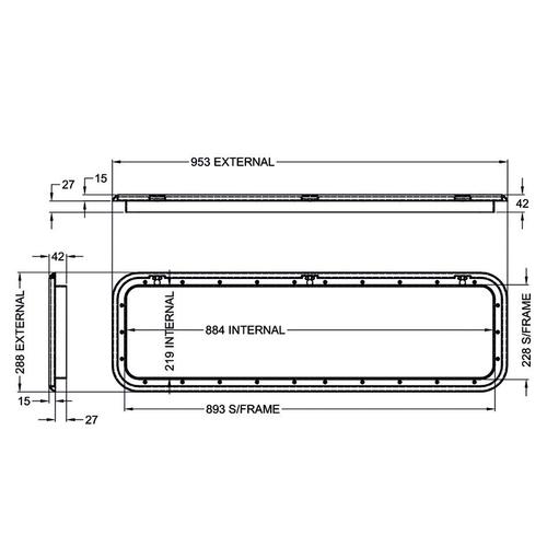 Coast Black Access Door 5 - Dimensions of door and frame   600-00028