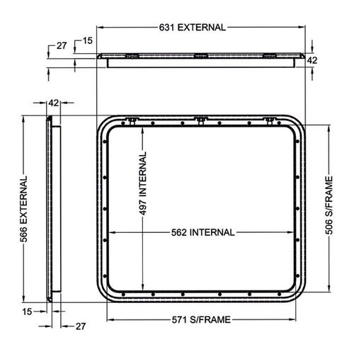 Coast Black Access Door 4 - Dimensions of door and frame | 600-00026