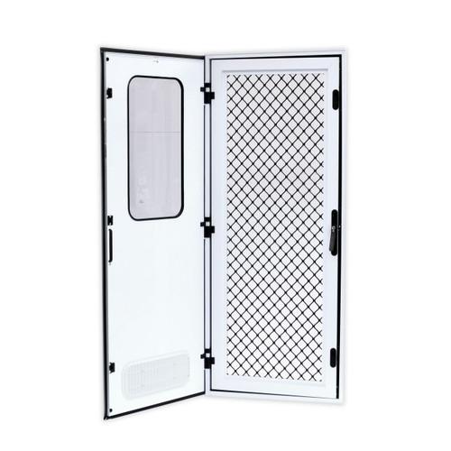 Odyssey 4 Square Corner Door 1750Mm X 622Mm Black Frame Right Hand Hinge Smooth Diamond Silver Infil | 42082 | Caravan Parts