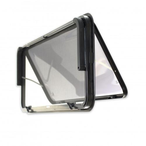 380 h x 457 w Odyssey Plus Caravan Window - Black Frame , with 27mm Clamp Back View   41255