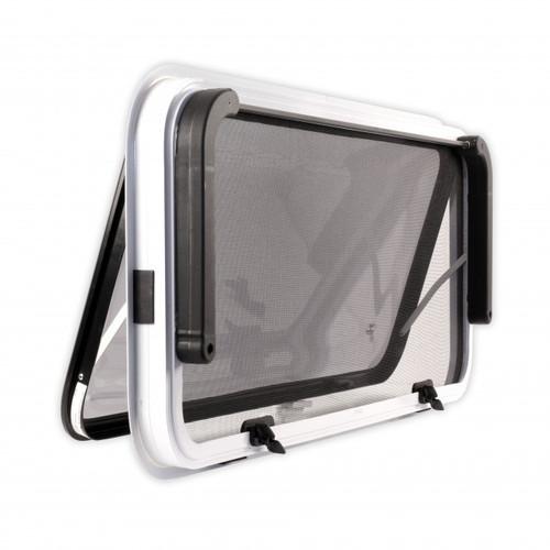380 h x 1175 w Odyssey 2 Radius Corner Window - Black Frame, fixed wind blind Back View   42400