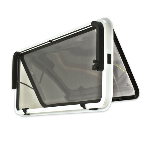 380 h x 457 w Odyssey Plus Caravan Window - White Frame , with 27mm Clamp Back View    41256