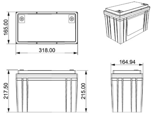 125Ah Lithium Battery dimensions