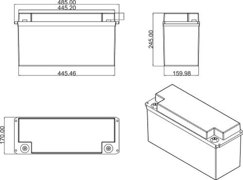 B-TEC 200Ah Lithium 12V Battery dimensions