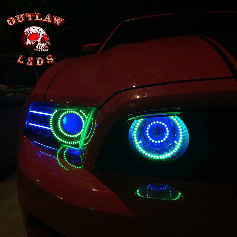 2010-2014 Projector Ford Mustang Double Halo Headlights and Fog Lights