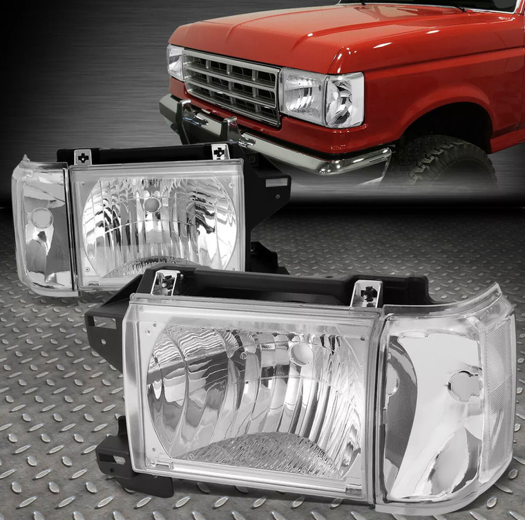 1987-1991 Ford OBS F150/F250/F350 & Bronco CLEAR Lens and Clear Side Marker Headlights